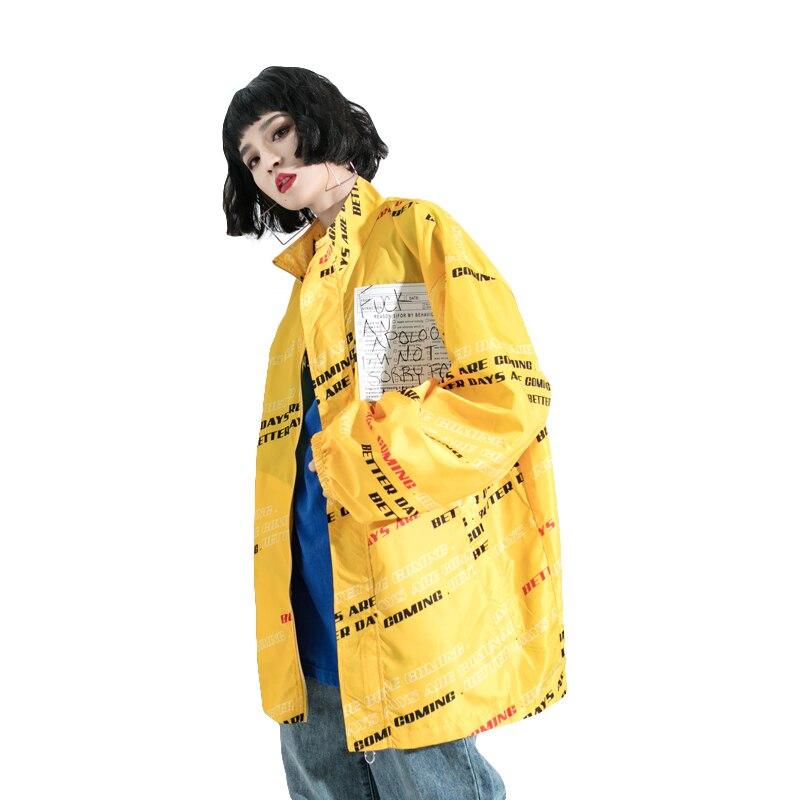 2019 Spring Women Fashion Print Windbreaker Hip-hop Series Oversized Loose Women's   Trench   Coat Thin Section Female Outwear