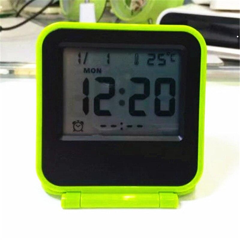 Mini cute travel digital alarm clock date temperature snooze function with backlight desktop LED clocks AQ133btravel-clock