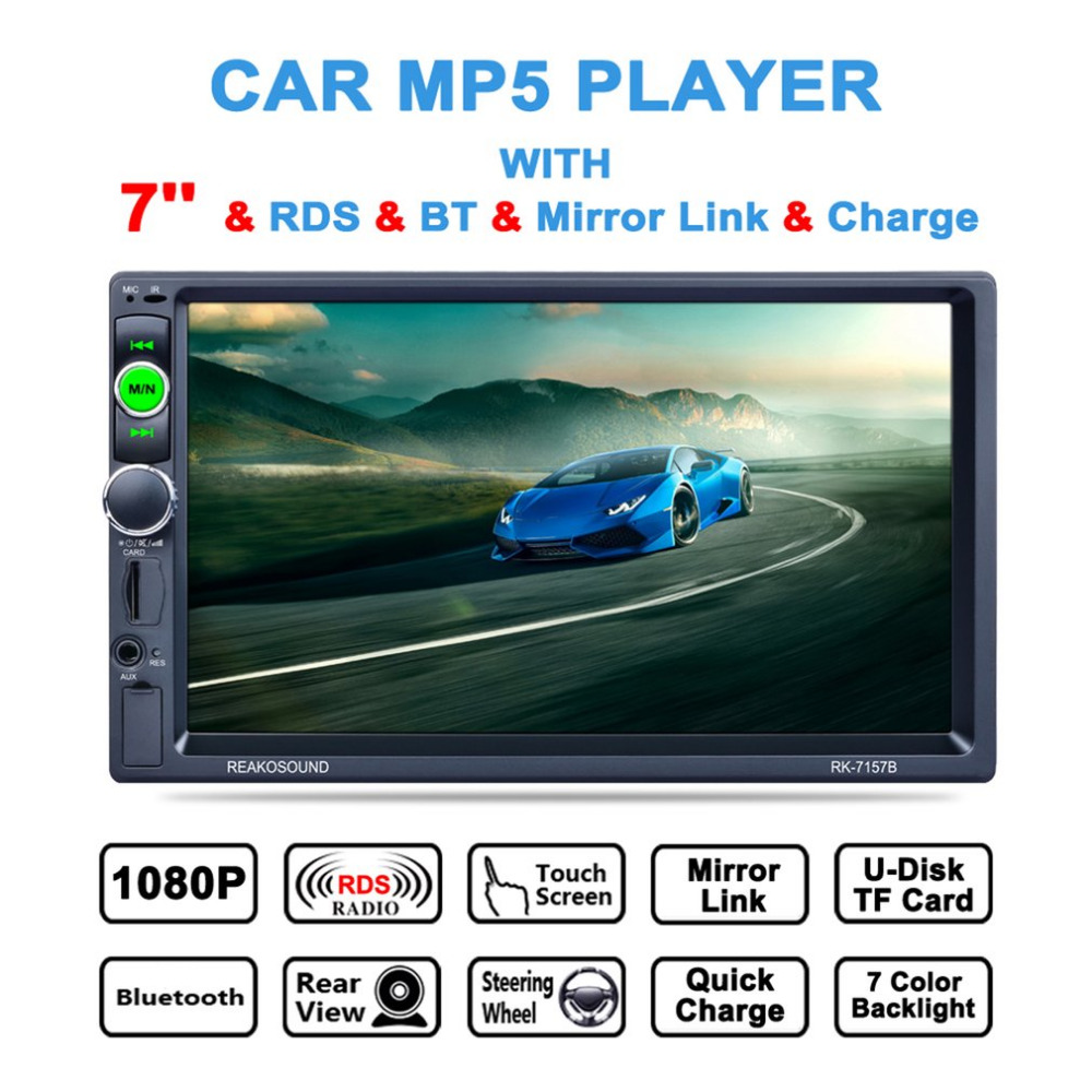 7inch 800*480 RK-7157B HD LCD Touch Screen Car MP5 Player Bluetooth 1080P 7 Color Button Back Light Mirror Link FM/AM/RDS Tuner ultra thin 7 touch screen lcd wince 6 0 gps navigator w fm internal 4gb america map light blue