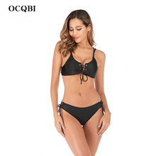 OCQBI bikinis 2019 mujer low waist bikini sexy monokini black bathing suit women beach bikini swimsuit swimwear push up biquini