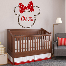 Minnie Mouse Vinyl wall stickers kids room Personalised Name Removeable Decal Girl Bedroom Custom Decoration W538