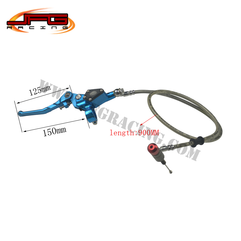 ФОТО 900mm 90CM Hydraulic Foldable Clutch Lever Master Cylinder for Motorcycle Dirt bike Pit Bike ATV 50cc-125cc Vertical Engine blue