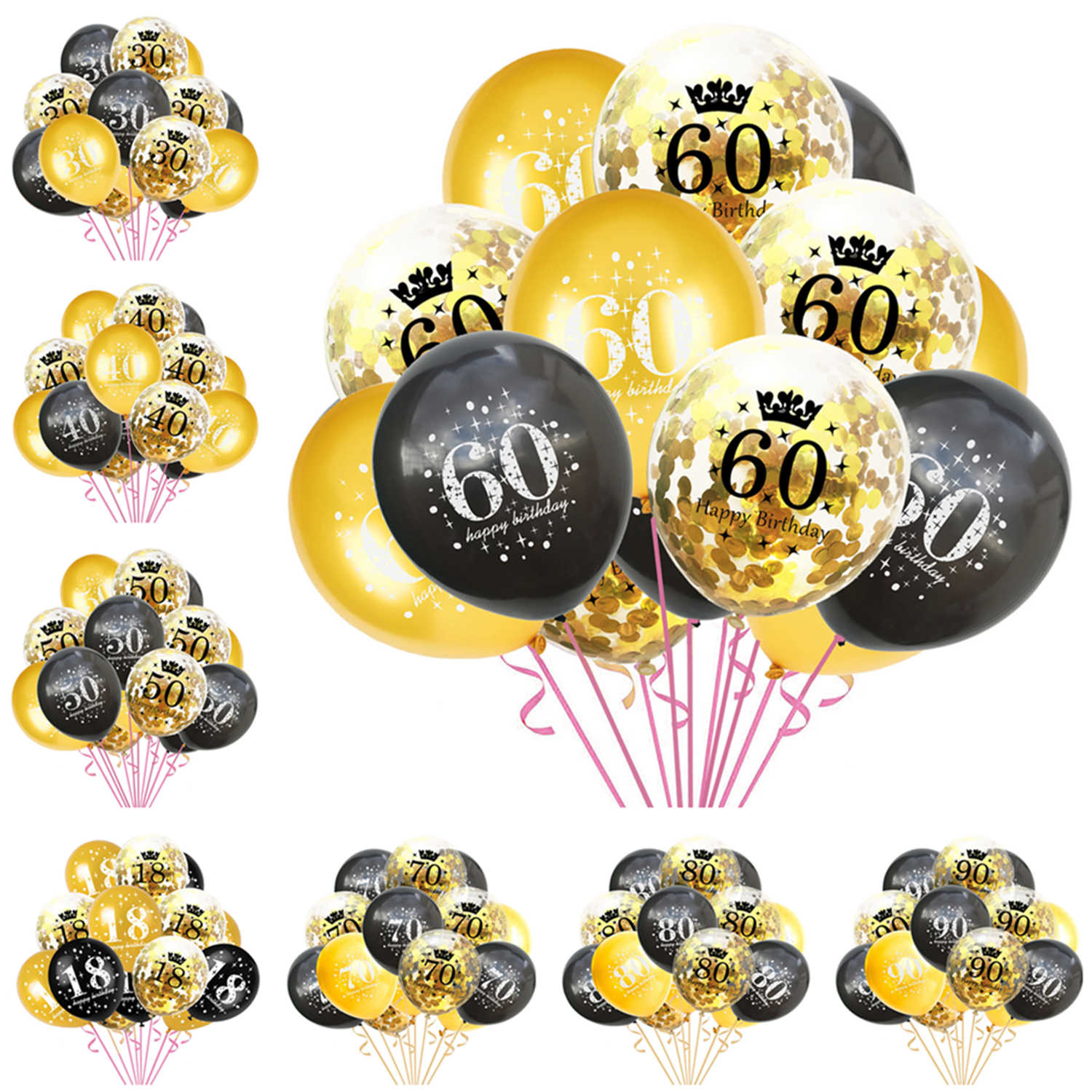 15pcs/set Gold Black Number Latex Balloons Happy Birthday Confetti Balloons 16/18/30/40/50/60th Birthday Anniversary Decorations