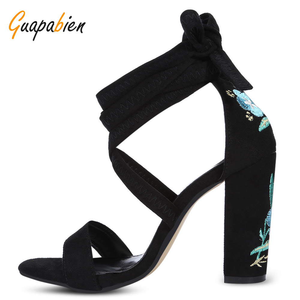 Guapabien Sexy Open Toe Strappy Embroidery Flowers Lace-Up Gladiator Sandals Thick High Heel Women High Quality Sandalias Shoes hot sale open toe high heel sandal lace up gladiator strappy sandals new arrival spring autumn flock dress shoes women