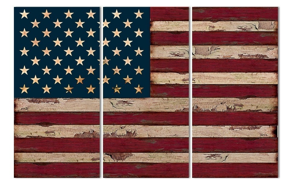 3Panel American USA United States of America Flag Canvas Wall Art Print On canvas painting Home Decor Picture Modular