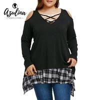 AZULINA Plus Size Tunic T Shirt With Plaid Extender Skirt Women T Shirts Long Sleeve V
