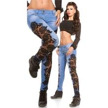 дешево!  2019 новые сексуальные ажурные кружевные джинсы женские джинсы бойфренда женские джинсы с высокой