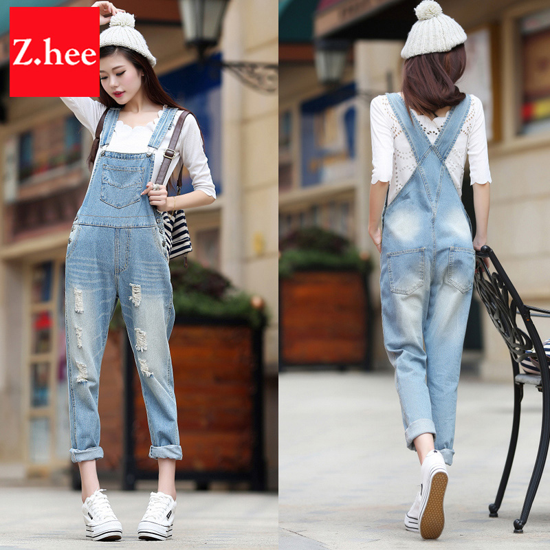 Aliexpress.com : Buy Loose Washed Ripped Straps Denim Overalls ...