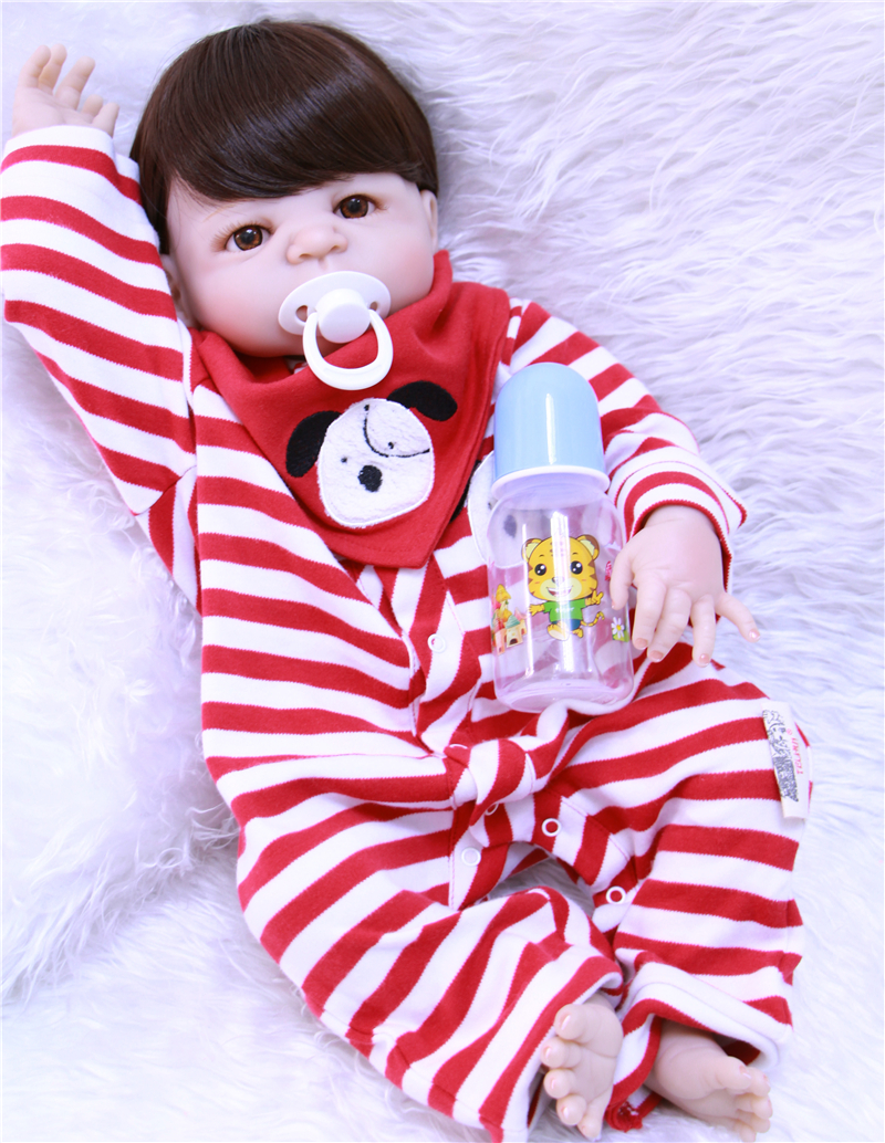 NPK DOLL 22inch Doll Reborn Baby Full Vinyl real bebe reborn Handmade Toys in Striped clothes boys For Kids Girls Gift masha BJD все цены