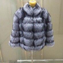 Nuovo di marca inverno vera volpe naturale cappotto di pelliccia di spessore volpe dargento delle donne giacca di pelliccia di volpe bavero del cappotto