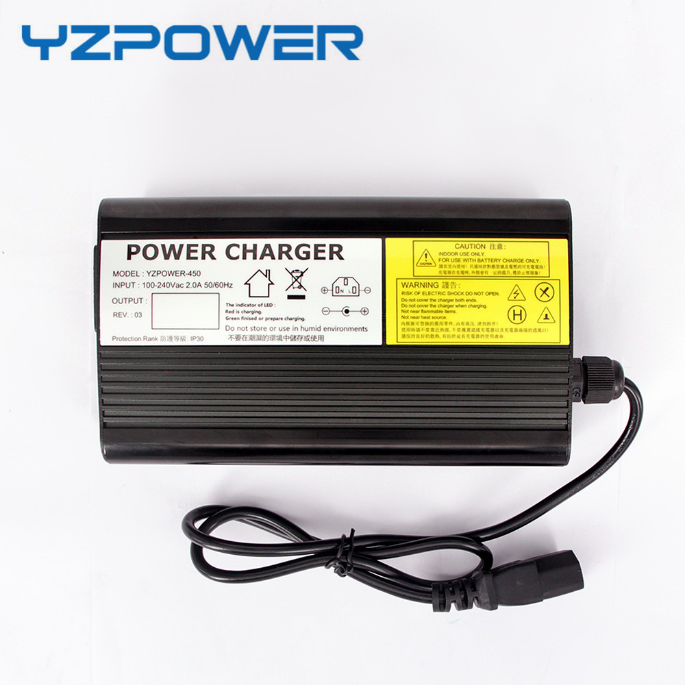 YZPOWER Auto-Stop 42V 8A Lithium Battery Charger For 36V Li-Ion Lipo Battery Pack Cooling with Fan Inside Aluminum Case free customs taxes factory diy 36 volt battery pack with charger and 20a bms for 36v 10ah lithium battery