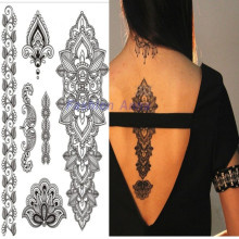 1PC Flash Waterproof Metallic Tattoo Women Black Henna Jewel Lace Flower Chain Bracelet Temporary Tattoo Sticker