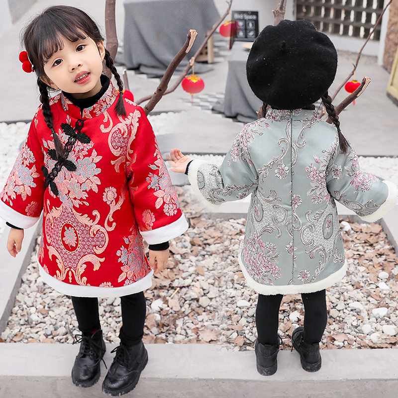 Girls Chinese Style Dress Thickening Embroidery Baby Winter New Year Clothes Girls Festive Cheongsam Dress Baby Girl Clothes