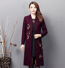 2019 New Spring Autumn High Quality Womens Wool Blend Trench Coat Vintage Casual Floral Embroidery Long Outerwear Plus Size 6X