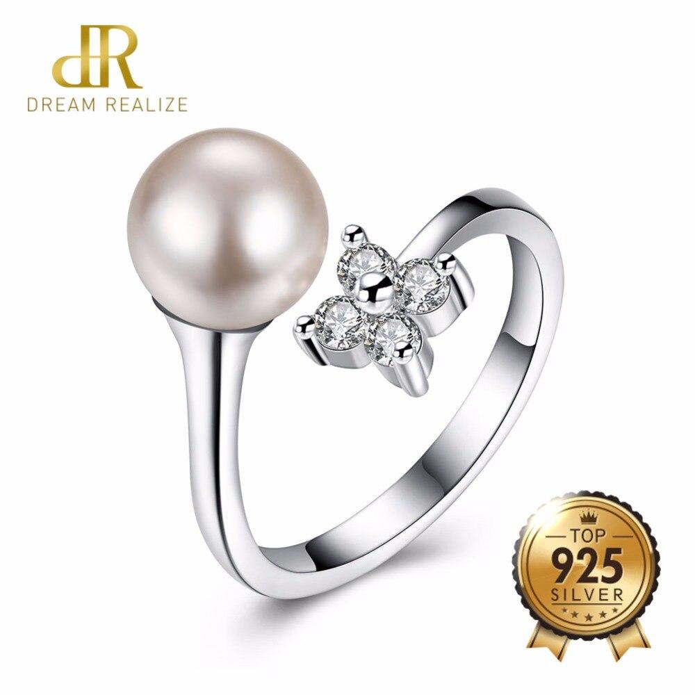 DR Genuine Pearl Shiny Zircon Rings for Women 925 Sterling Silver Adjustable Women's Ring Female Wedding Fine Jewelry