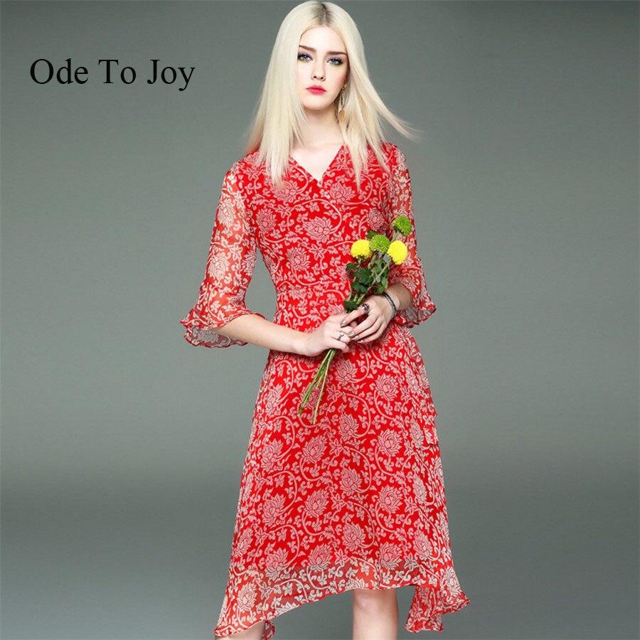 Buy Cheap [Ode To Joy]100%Silk ruffle print summer dress women High waist strap silk beach dress Boho party sexy dresses good quality