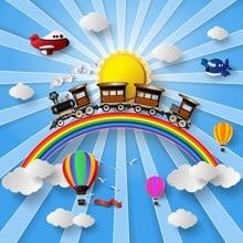 Laeacco Trem A Vapor Do Arco do Balão de Ar Quente Cena Fotografia Bebê Fundo Fotográfico Pano de Fundo Para Photo Studio Personalizado