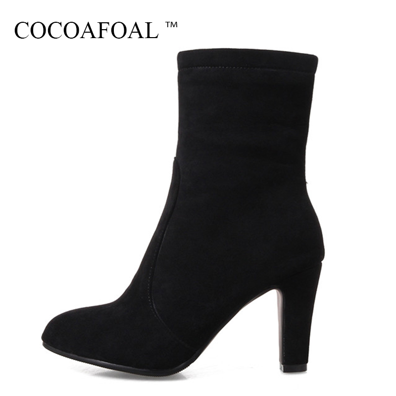 цена на COCOAFOAL Women's Black Flock Zipper Ankle Boots Autumn Winter Plus Size 33 43 Fashion Red High Heeled Shoes Sexy Martin Boots