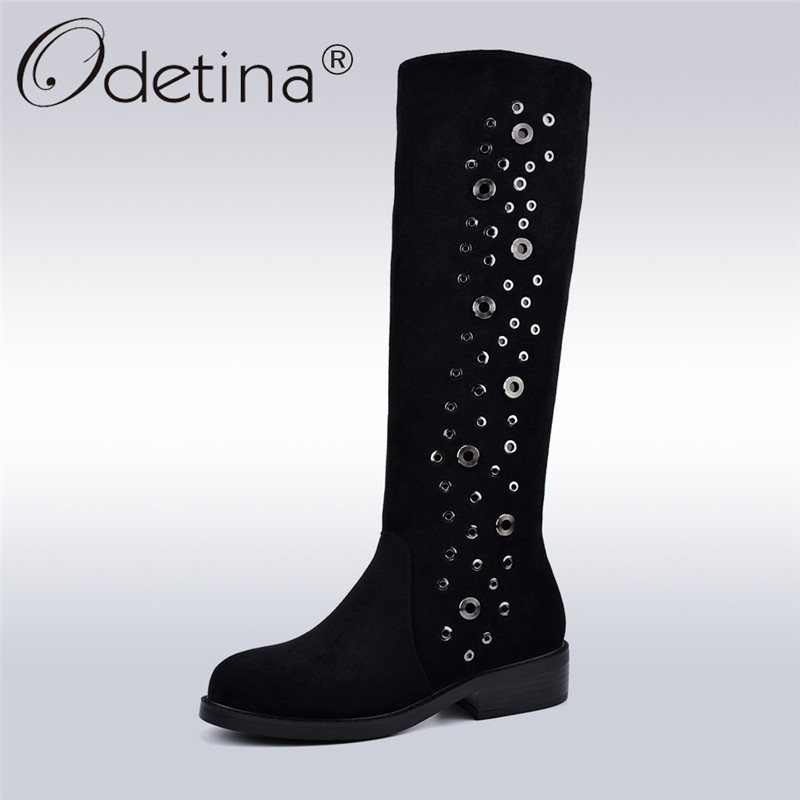 Odetina Flock Leather Lady Knee High Boots Square Low Heel Zipper Female Fashion Boots With Metal Decoration Autumn Winter Shoes