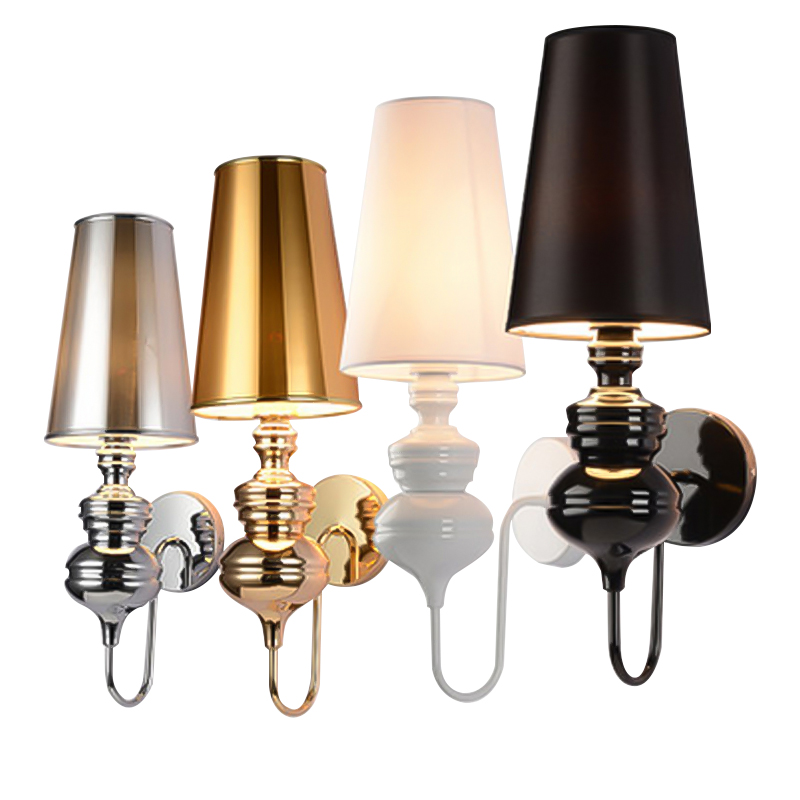 Wall lamp Modern Bedroom Reading Light Living room/ Corridor/ staircase /hotel European style lamp E27 Silver/Gold/Black/White the ivory white european super suction wall mounted gate unique smoke door