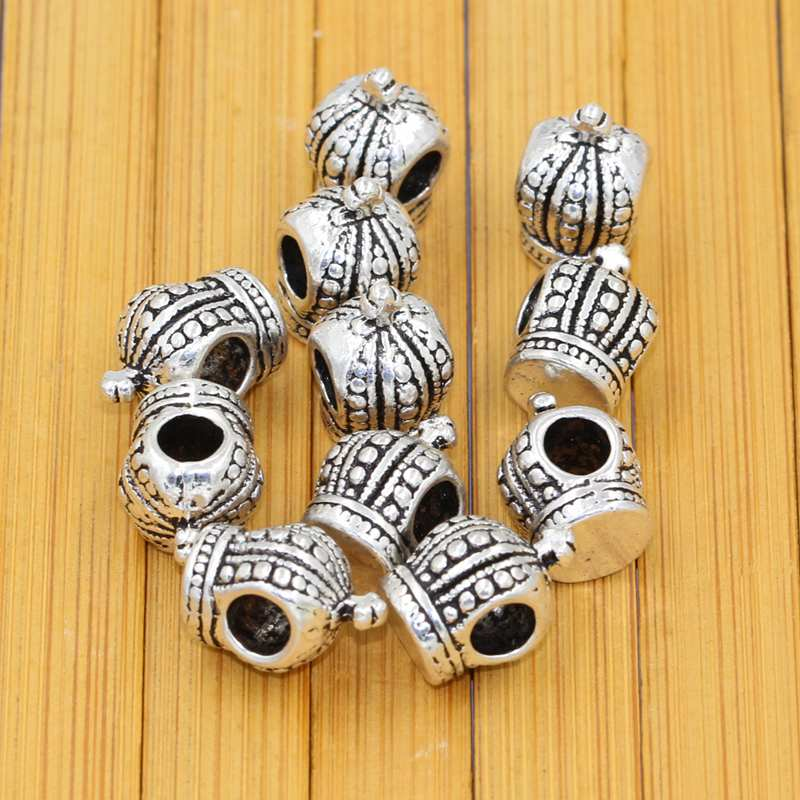 10 Pcs/lot Dedicated Ancient Silver Imperial Crown Macroporous Alloy Beads For Bracelets Strong Packing