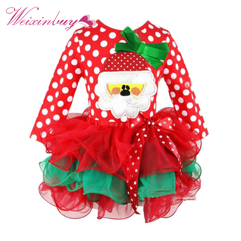 2017 Christmas Costumes Kids Baby Girl Santa Claus Character Tulle Tutu Party Mesh Dress 1-6Y inflatable cartoon customized advertising giant christmas inflatable santa claus for christmas outdoor decoration