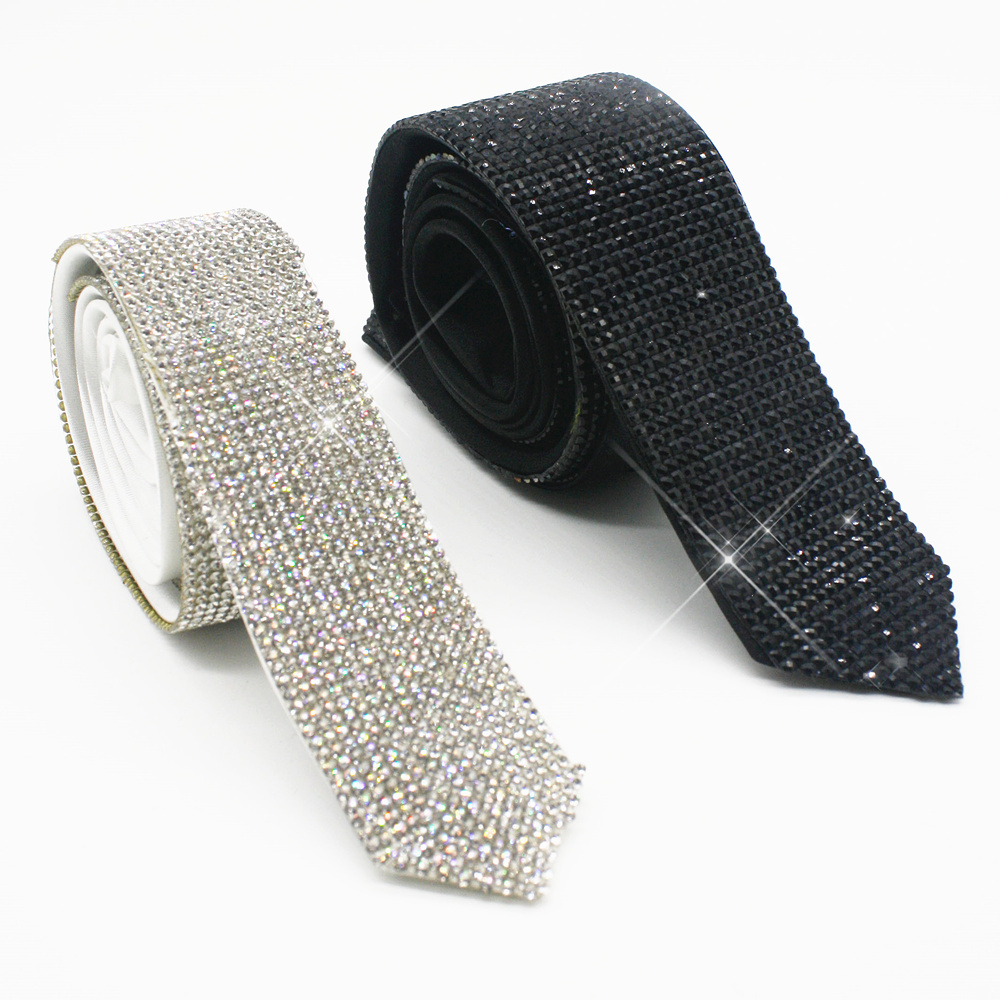 Handmade Black Laser Crystal Rhinestone Necktie Necklace For Performace Wedding Party Prom