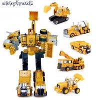 Abbyfrank 5 Em 1 Veículos de Engenharia Liga Escavadeira Caminhão de Construção de Plástico de Montagem de Automóveis de Transformação Robô de Brinquedo Para Crianças