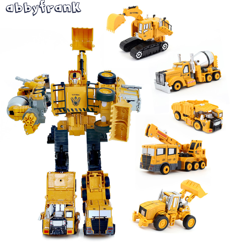 Abbyfrank 5 In 1 Transformation Car Assembly Excavator Construction Truck Plastic Engineering Vehicles Alloy Robot Toy For Kids alloy plastic engineering vehicles deformation car robot transformation toys robot set action figure model for kids gift