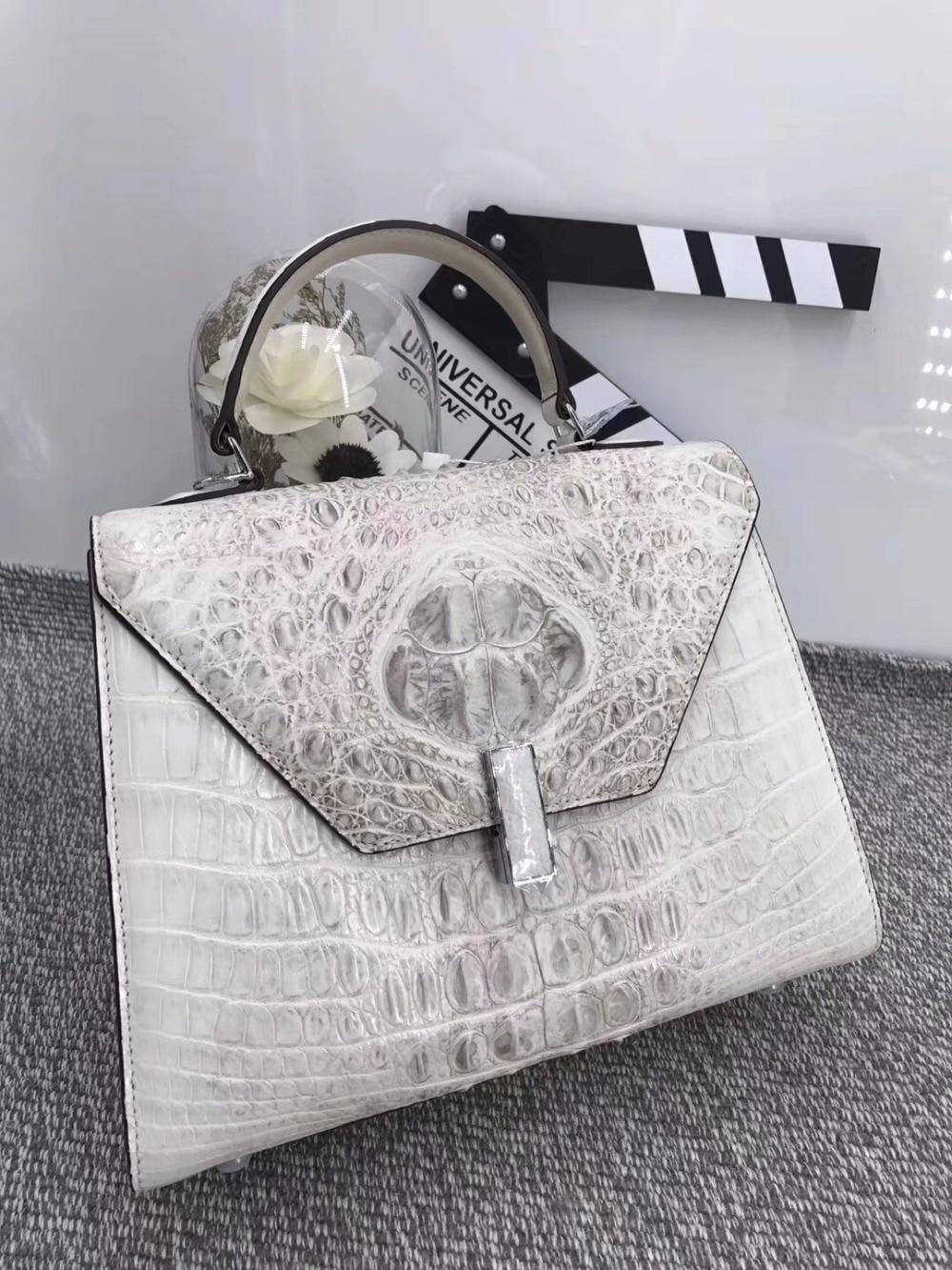 Luxury Designer Medium Size Genuine Crocodile Skin Exotic Alligator Leather Ladies White Handbag Female Three-way Shoulder Bag цена