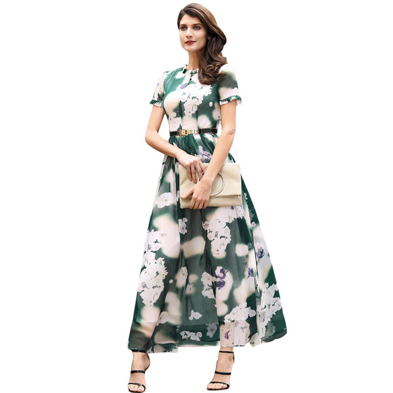 DF plus size dress xxxl women chiffon printed flowers long dress short sleeves o neck buttons dress ball gown summer 6145 plus size butterfly print ball gown dress