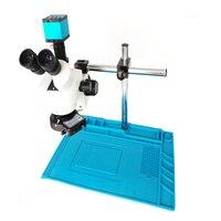 3.5X 7X 45X 90X simul focal Trinocular Stereo Microscope+16MP 1080P HDMI USB microscope video camera+56 LED Light+ blue Mat