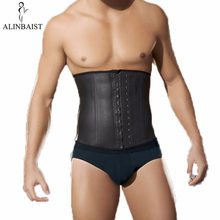 Mens Latex Waist Trainer Strong Hooks Workout Steel Boned Shapewear Tummy Control Cincher Thermal High Compression Cincher Women(China)