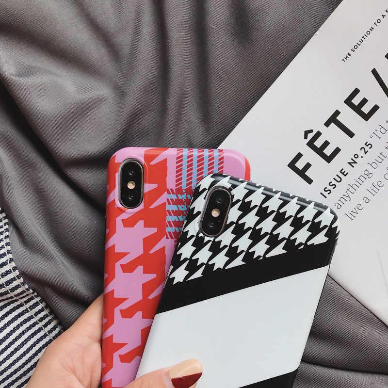 Moda de estilo británico de celosía de caso para iPhone X 7 8 Plus 6 6 s Plus de silicona TPU cubierta funda de teléfono divertida blanca y negra