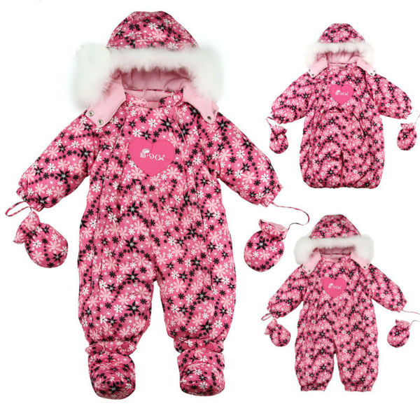RUSSIA baby winter warm white duck down jumpsuits baby clothes sleeping bag 1 to 2 years old Striped flower russia culinary guidebook