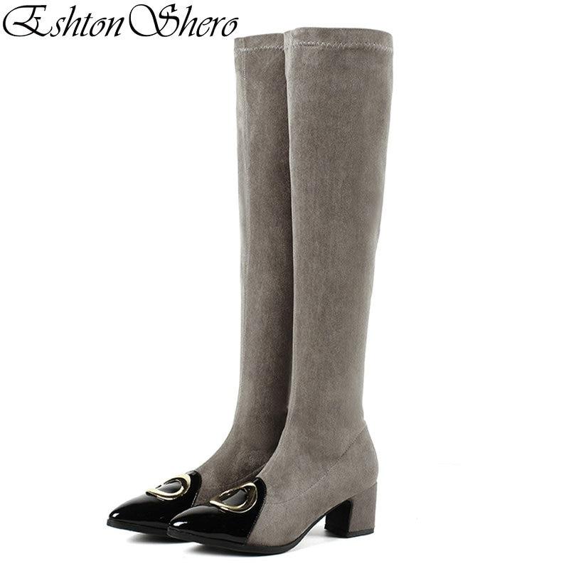 Glissent Sur Bout noir Dames Femme Boot 43 Le Eshtonshero Printemps Med 34 Genou Chaussures Pointu Taille Talons Khaki Bottes Moto Femmes gris Noir v11qz6wxE