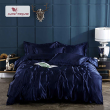 SlowDream Euro Bedding Set 100% Silk Rubber Sheet On Elastic Band Adult Double Bedspread Luxury Fitted Duvet Cover