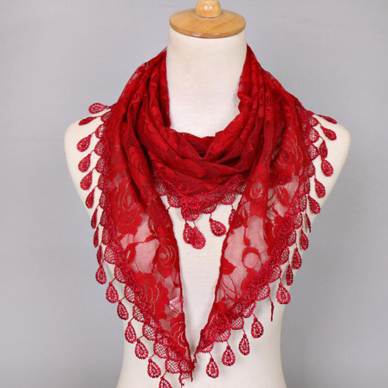 2019 Spring Women Lace Scarf Lady's Headscarf  Hollow Triangle Scarf Women Tassel Shawls And Scarves