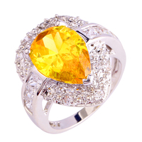 Brand JROSELuxurious Style Women Beauty Citrine White Topaz Silver Ring Size 7 8 9 10 Free Shipping Wholesale Engagement Jewelry
