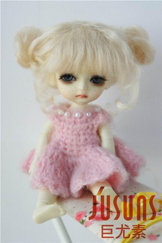 JD406 1/8 5-6 дюймов, парик для куклы BJD, кукольный парик, прекрасные мохеровые парики, Детские два пони, парик для маленькой куклы - Цвет: Blond M9