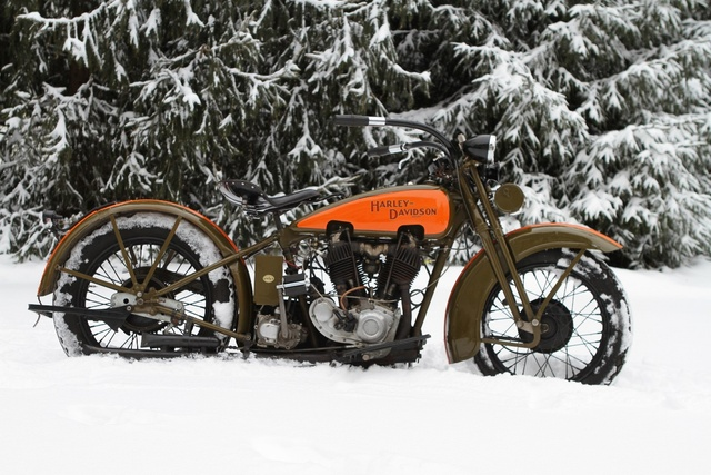1929 JDH Vintage Classic 2 Cam Retro Motorcycle Winter KD122 Living Room  Home Wall Art Decor