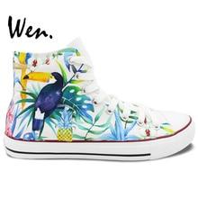 Wen Original Hand Painted Shoes Design Custom Selva Toucan Bird High Top Canvas Sneakers for Men Women's Christmas Gifts