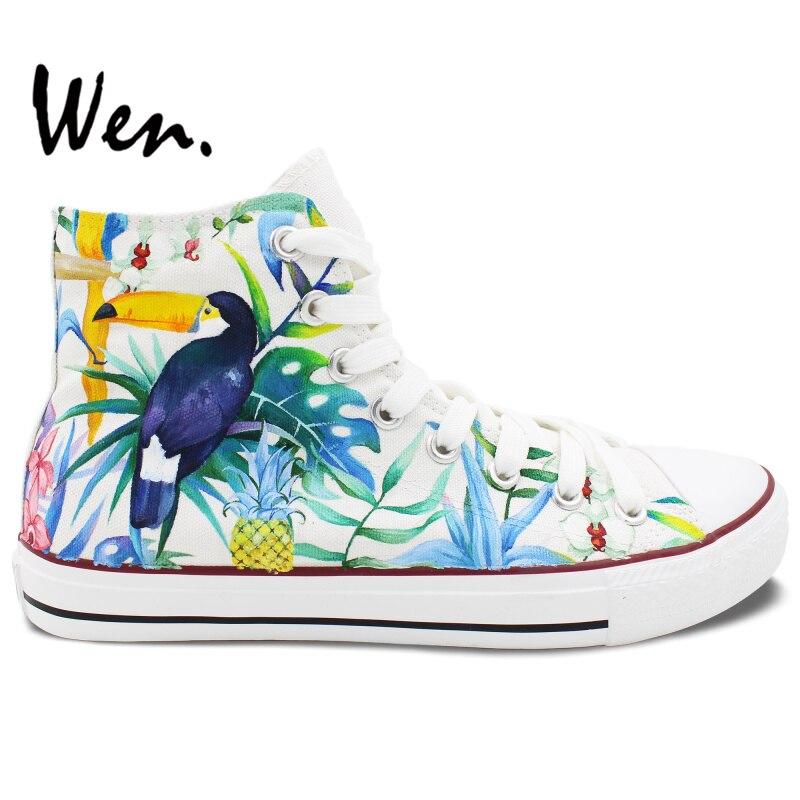 Prix pour Wen Original Peint À La Main Chaussures Custom Design Selva Toucan Oiseau High Top Toile Sneakers pour Hommes de Femmes De Noël Cadeaux