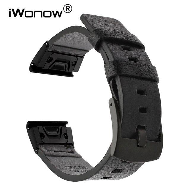 מהיר קל Fit עור אמיתי רצועת השעון עבור Garmin Fenix 5X/5X בתוספת/5S/5/3/ 3HR/Forerunner 935/גישה S60 להקת שעון רצועה