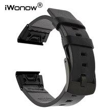 Quick Gemakkelijk Fit Echt Lederen Horlogeband voor Garmin Fenix 5X/5X Plus/5 s/5/3 /3HR/Forerunner 935/Aanpak S60 Horloge Band Strap