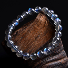 HOBBORN Trendy Labradorite Beads Men Bracelet Handmade Strand High Quality Moonstone Elasticity Women Energy Jewelry