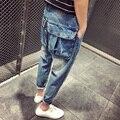 2016 Dos Homens de roupas calças de brim do furo Do Vintage soltas calças harem pants tornozelo comprimento calças grandes bolsos calças skinny finas trajes Cantor