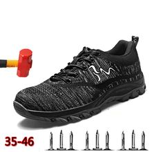Safety Shoes Vulcanized Labor Insurance Breathable Mesh Work Anti-puncture Steel Toe Chuteira