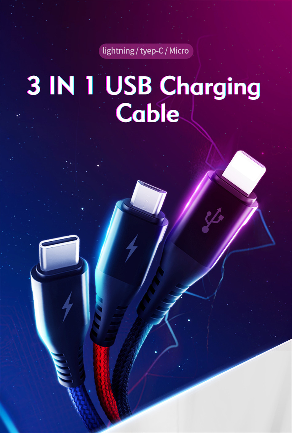 Benks Universal 3 In 1 Lighting Charger Cable For iPhone X 7 8 6 Plus Micro USB Type C For Oneplus Xiaomi 5 Phone Charging Cable (1)