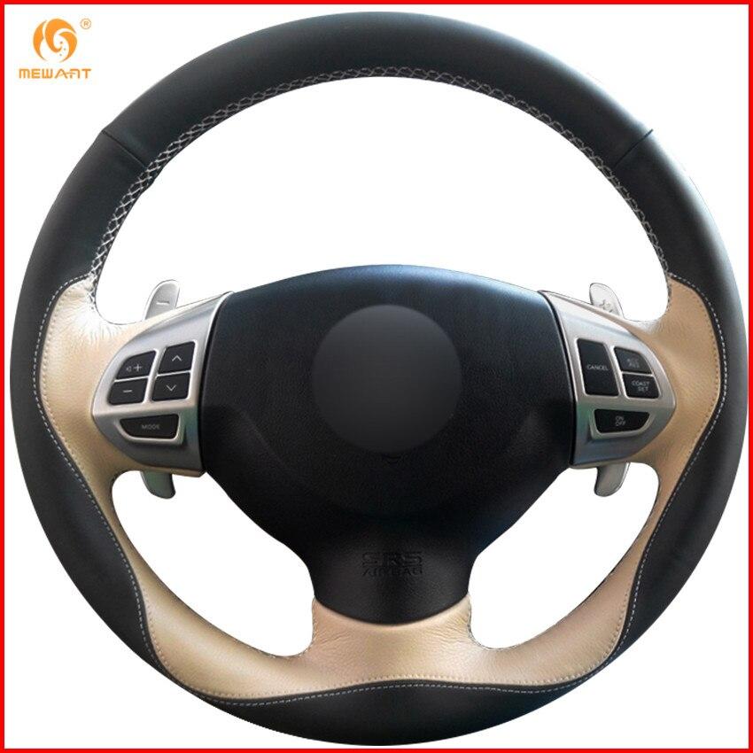 MEWANT Black Beige Leather Car Steering Wheel Cover for Mitsubishi Lancer EX Outlander ASX Colt Pajero